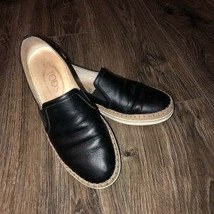 Tods slip ons black leather